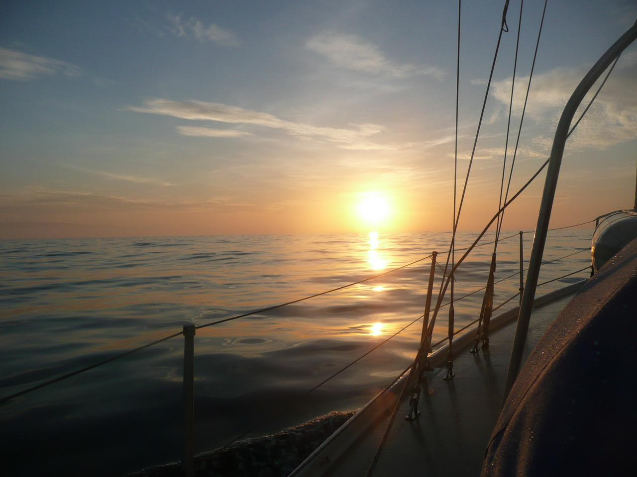 Sunset on passage